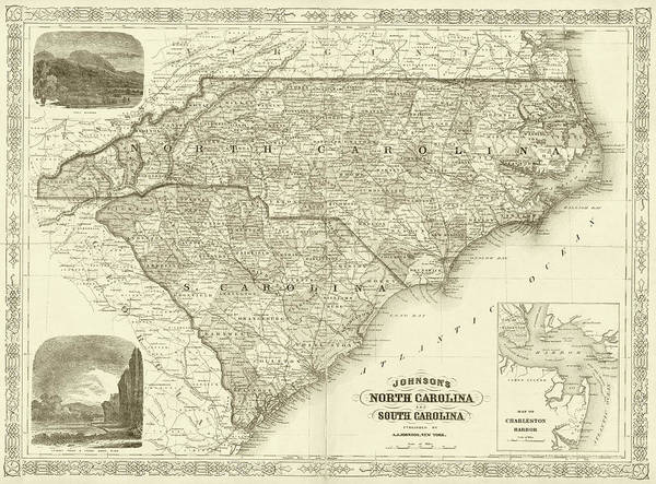 Digital Art - 1865 Map Of North And South Carolina Nc Sc Sepia by Toby McGuire