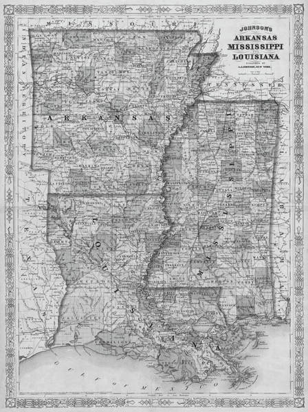 Digital Art - 1866 Map Of Arkansas Mississippi And Louisiana Historical Map Black And White by Toby McGuire