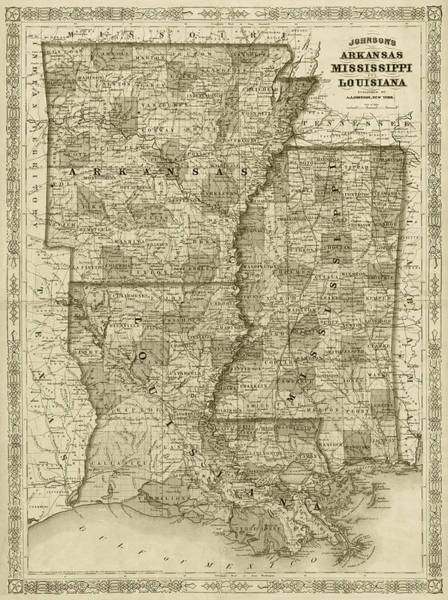 Digital Art - 1866 Map Of Arkansas Mississippi And Louisiana Historical Map Sepia by Toby McGuire