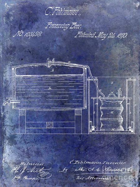 Wall Art - Photograph - 1870 Beer Preserving Patent Blue by Jon Neidert