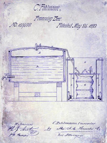 Wall Art - Photograph - 1870 Beer Preserving Patent Blueprint by Jon Neidert