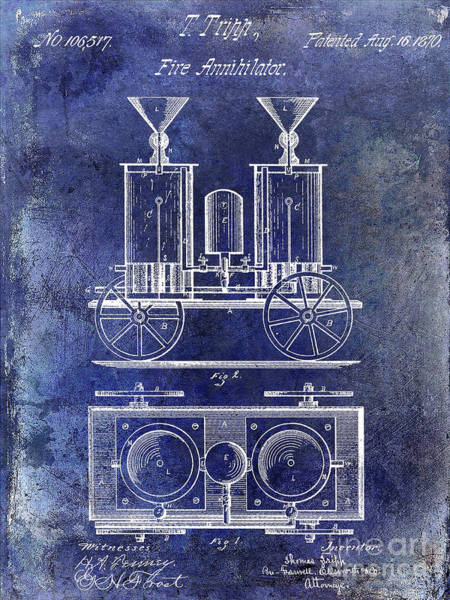 Wall Art - Photograph - 1870 Fire Truck Patent Blue by Jon Neidert