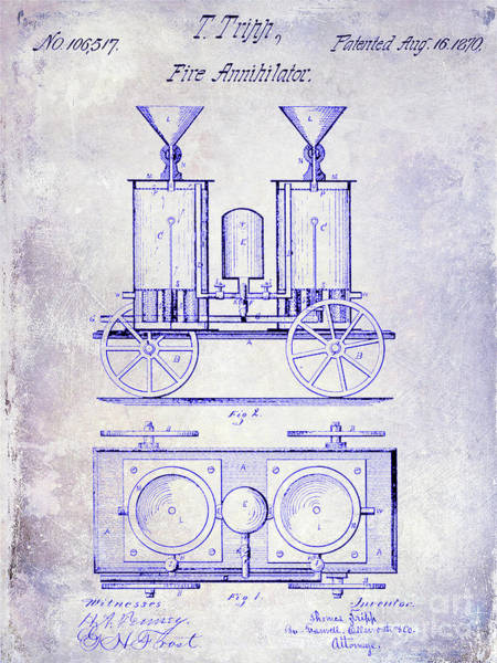 Wall Art - Photograph - 1870 Fire Truck Patent Blueprint by Jon Neidert