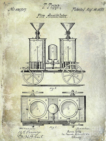 Wall Art - Photograph - 1870 Fire Truck Patent by Jon Neidert