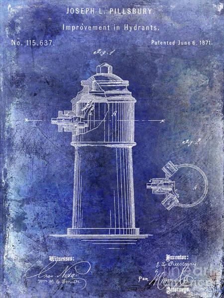 Vintage Fire Truck Photograph - 1871 Fire Hydrant Patent Blue by Jon Neidert
