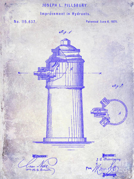 Wall Art - Photograph - 1871 Fire Hydrant Patent Blueprint by Jon Neidert