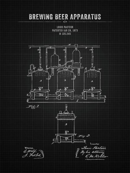 Wall Art - Digital Art - 1873 Brewing Beer Apparatus - Black Blueprint by Aged Pixel