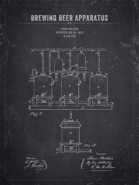 Wall Art - Digital Art - 1873 Brewing Beer Apparatus - Dark Charcoal Grunge by Aged Pixel