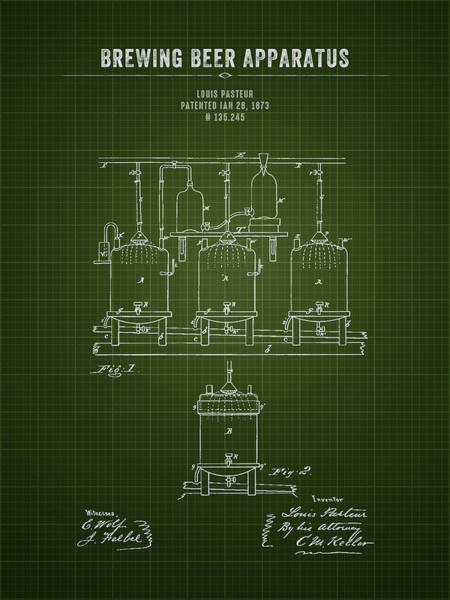 Wall Art - Digital Art - 1873 Brewing Beer Apparatus - Dark Green Blueprint by Aged Pixel