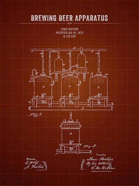 Wall Art - Digital Art - 1873 Brewing Beer Apparatus - Dark Red Blueprint by Aged Pixel