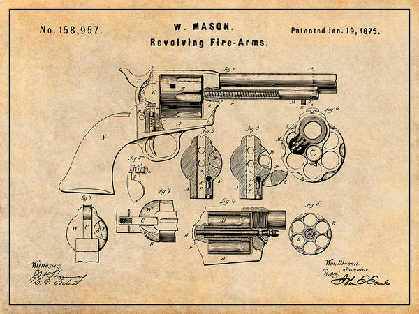 Wall Art - Drawing -  1875 Colt Peacemaker Patent Print Antique Paper by Greg Edwards
