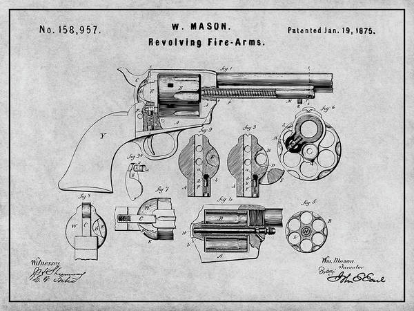 Wall Art - Drawing - 1875 Colt Peacemaker Patent Print Gray by Greg Edwards