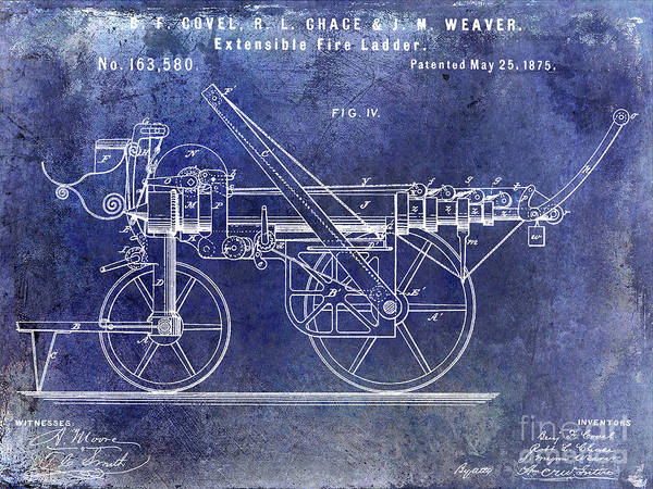 Wall Art - Photograph - 1875 Ladder Truck Patent Blue  by Jon Neidert