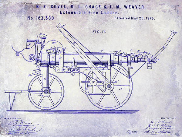 Wall Art - Photograph - 1875 Ladder Truck Patent Blueprint by Jon Neidert