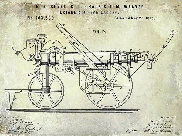 Wall Art - Photograph - 1875 Ladder Truck Patent by Jon Neidert