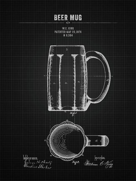 Wall Art - Digital Art - 1876 Beer Mug - Black Blueprint by Aged Pixel