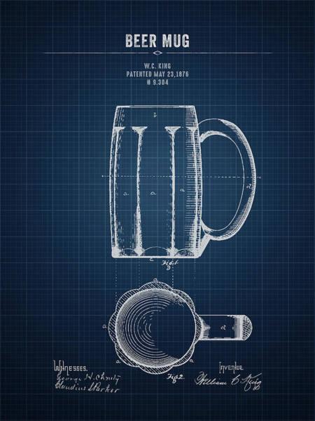 Wall Art - Digital Art - 1876 Beer Mug - Dark Blueprint by Aged Pixel