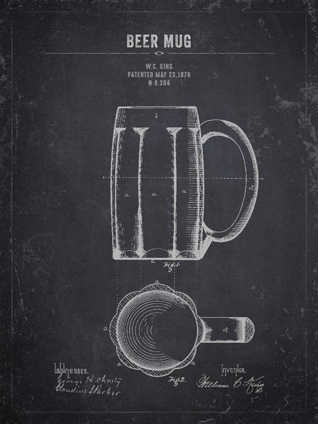 Wall Art - Digital Art - 1876 Beer Mug - Dark Charcoal Grunge by Aged Pixel
