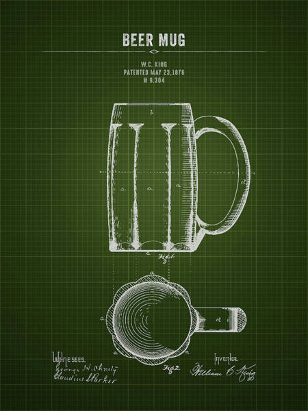 Wall Art - Digital Art - 1876 Beer Mug - Dark Green Blueprint by Aged Pixel