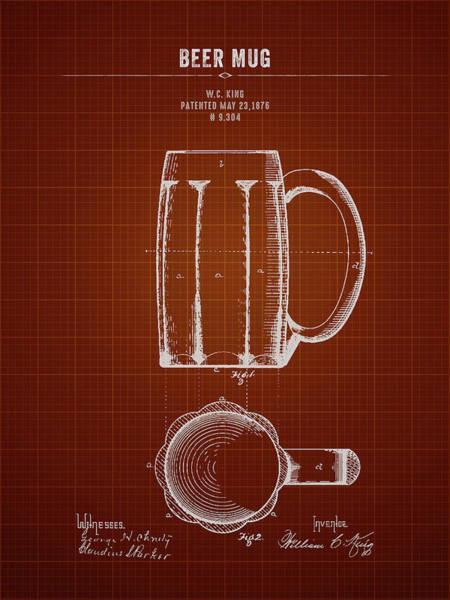 Wall Art - Digital Art - 1876 Beer Mug - Dark Red Blueprint by Aged Pixel