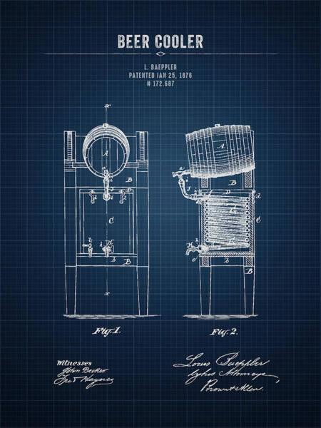 Wall Art - Digital Art - 1876 Brewing Cooler - Dark Blue Blueprint by Aged Pixel