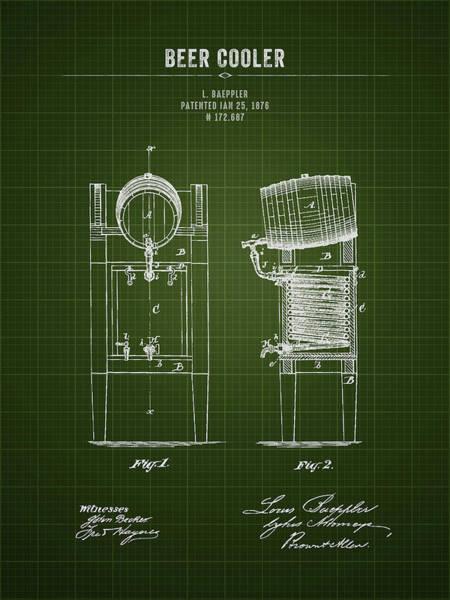 Wall Art - Digital Art - 1876 Brewing Cooler - Dark Green Blueprint by Aged Pixel
