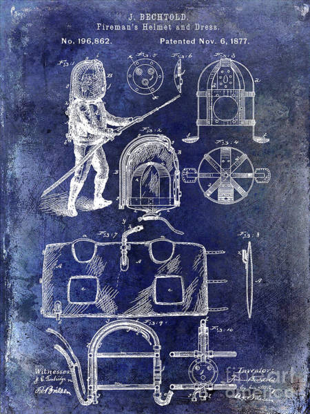 Wall Art - Photograph - 1877 Firemans Helmet And Dress Patent Blue by Jon Neidert