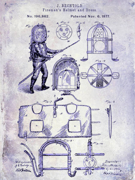 Wall Art - Photograph - 1877 Firemans Helmet And Dress Patent  Blueprint by Jon Neidert
