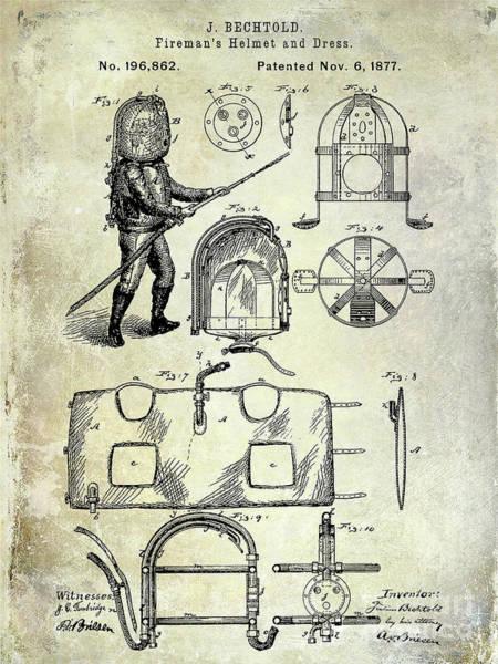 Wall Art - Photograph - 1877 Firemans Helmet And Dress Patent  by Jon Neidert