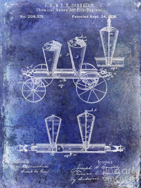 Wall Art - Photograph - 1878 Fire Truck Patent Blue by Jon Neidert