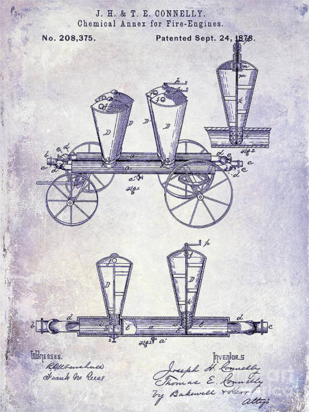 Wall Art - Photograph - 1878 Fire Truck Patent Blueprint by Jon Neidert