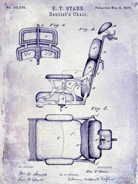 Wall Art - Photograph - 1879 Dentist Chair Patent Blueprint by Jon Neidert
