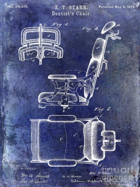 Wall Art - Photograph - 1879 Dentist Chair Patent Blue by Jon Neidert