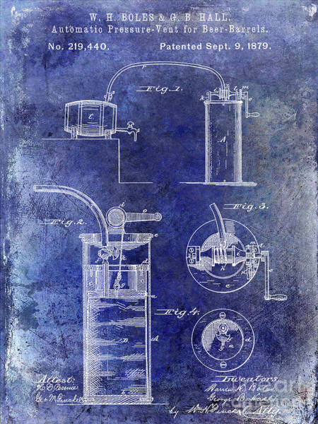Wall Art - Photograph - 1879 Pressure Vent For Beer Barrels Patent Blue by Jon Neidert