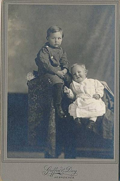 Wall Art - Painting - 1880-1889 Two Sweet Babies, Hebron, Nebraska Sepia Day Cabinet Card Photograph by Celestial Images