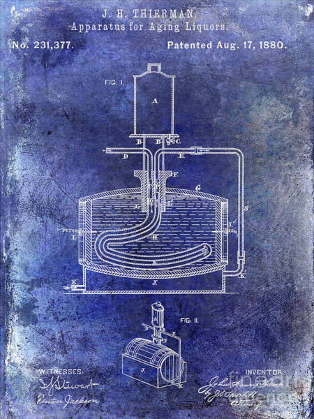 Wall Art - Photograph - 1880 Liquor Aging Patent Blue by Jon Neidert