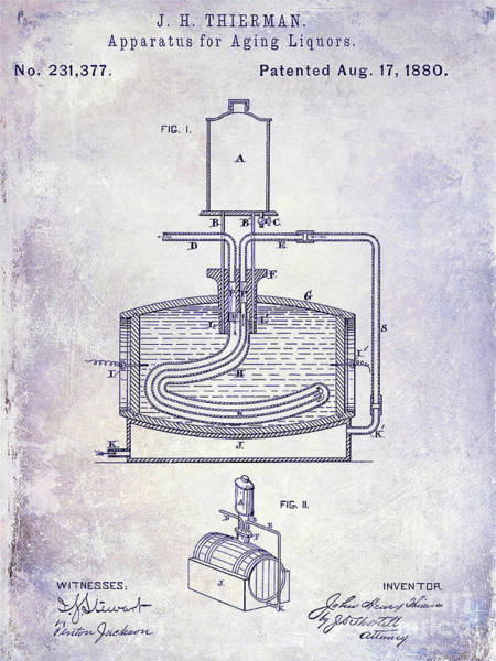 Cocktail Shaker Photograph - 1880 Liquor Aging Patent Blueprint by Jon Neidert