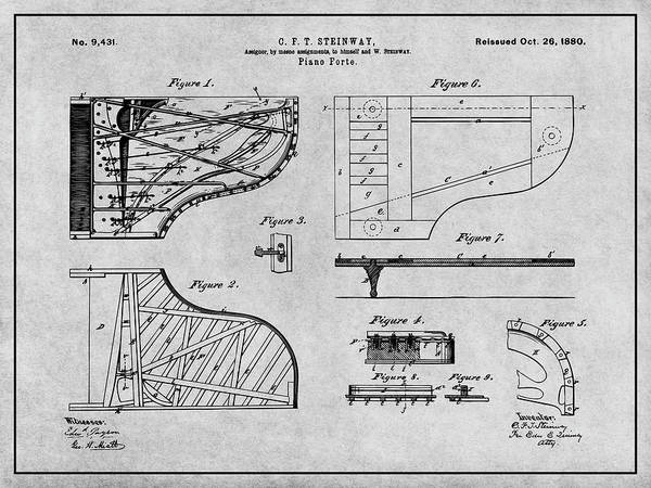 Wall Art - Drawing - 1880 Steinway Piano Forte Gray Patent Print by Greg Edwards