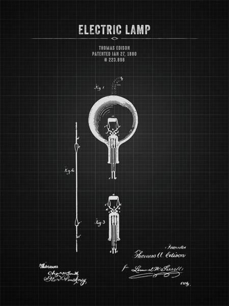 Wall Art - Digital Art - 1880 Thomas Edison Electric Lamp - Black Blueprint by Aged Pixel