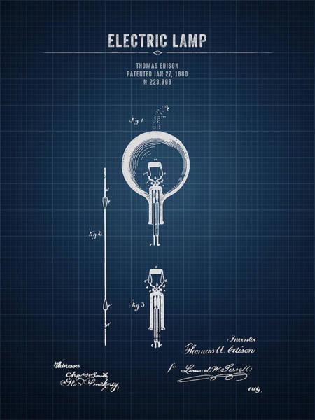 Wall Art - Digital Art - 1880 Thomas Edison Electric Lamp - Dark Blueprint by Aged Pixel