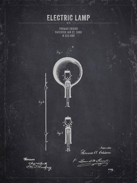 Wall Art - Digital Art - 1880 Thomas Edison Electric Lamp - Dark Charcoal Grunge by Aged Pixel
