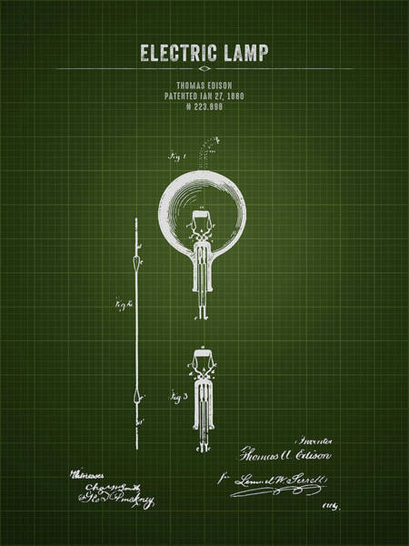 Wall Art - Digital Art - 1880 Thomas Edison Electric Lamp - Dark Green Blueprint by Aged Pixel