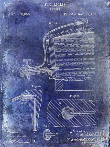Wall Art - Photograph - 1881 Beer Faucet Patent Blue by Jon Neidert