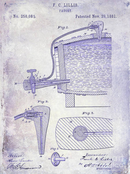 Wall Art - Photograph - 1881 Beer Faucet Patent Blueprint by Jon Neidert