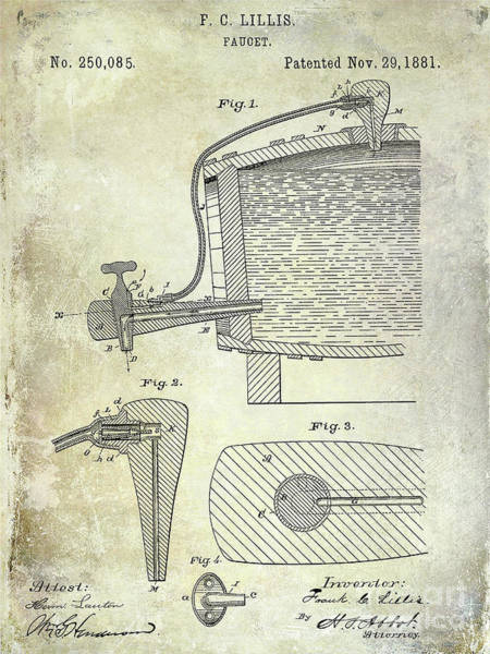 Wall Art - Photograph - 1881 Beer Faucet Patent by Jon Neidert