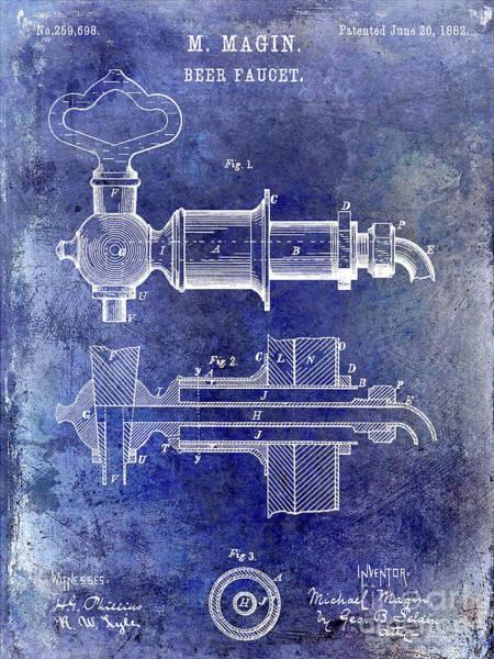 Wall Art - Photograph - 1882 Beer Faucet Patent Blue by Jon Neidert