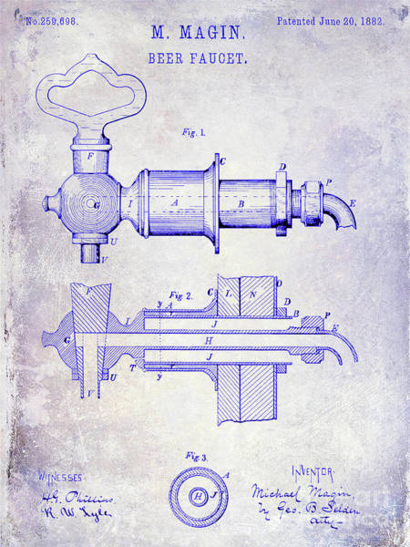 Wall Art - Photograph - 1882 Beer Faucet Patent Blueprint by Jon Neidert