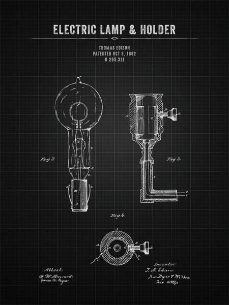 Wall Art - Digital Art - 1882 Thomas Edison Electric Lamp And Holder - Black Blueprint by Aged Pixel
