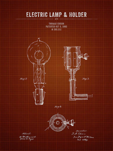 Wall Art - Photograph - 1882 Thomas Edison Electric Lamp And Holder - Dark Red Blueprint by Aged Pixel