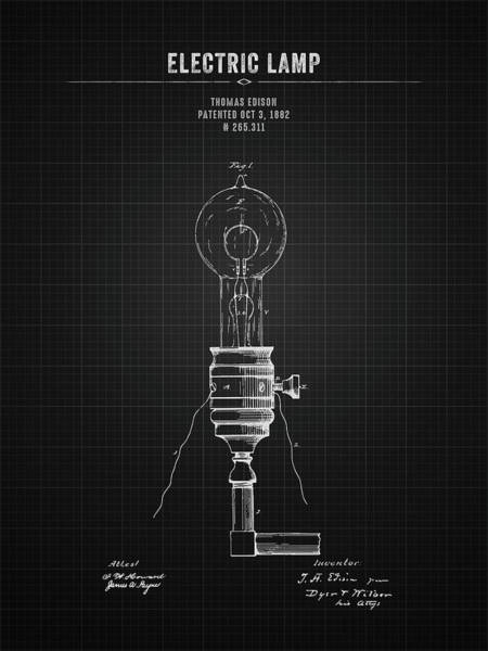 Wall Art - Digital Art - 1882 Thomas Edison Electric Lamp - Black Blueprint by Aged Pixel